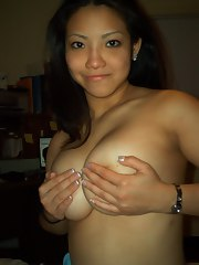 Big-tittied Asian amateur chicks show their knockers