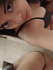 Cute mixed race Asian legal age teenager taking naughty selfpics