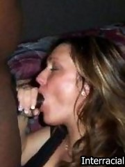 Sexy MILF wraps her lips around a massive knob and gives sloppy blowjob
