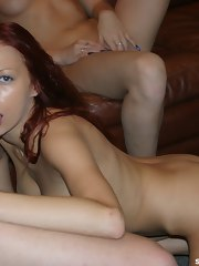 Babes acquire on their knees to eat cum on cam