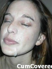 Amateur floozy gives head and then gets massive facial cumshot