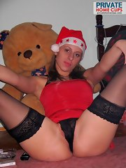 Santa outfit on a hot amateur blonde honey