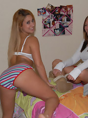 Amazing hot booty shorts legal age teenager gets spied on in the bathroom in this sexy honey girl friends