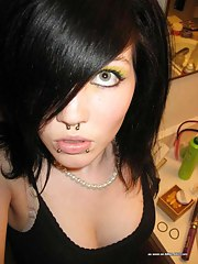 Low-spirited emo amateur hotty selfshooting