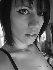 Self-shooting amateur Gothic playgirl in black and white pics