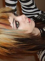 Flaming hot photos of an emo pierced amateur babe's selfpics