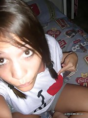 Amateur teen brunette hottie's selfpics