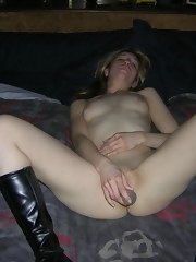 Horny golden-haired named Ericka fucking herself in daybed with a glass dildo