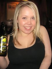 BBW bar girl posing with a beer
