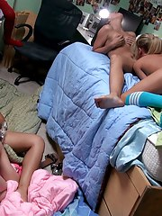 Angels sleep over combo unite turns in to full blow fuckfest ass sucking and pussy fucking at dorm room