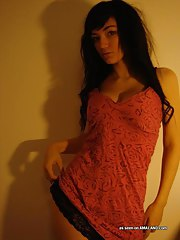 Simmering picture set of a smoking hawt amateur hawt emo teen in underclothing