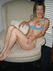 Alluring undressed mom taking raiment off and posing for her man