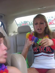 Horny lesbian cheerleaders toying each others asshole