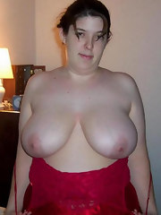 Excited fatty large boobed woman  fucked on bed.